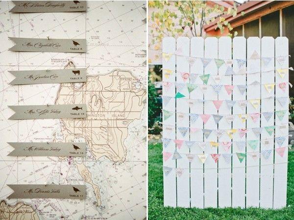 DIY lustig Tischkarten Hochzeit Ideen Nameschilder an Landkarte Flagge Tischkarten am Board DIY Originelle und Einzigartige Tischkarten für die Hochzeit – Hochzeitsdeko Ideen