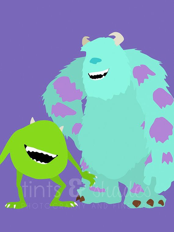 Monsters Inc. 8x10 Minimalist Poster by TintsShadesFineArt on Etsy, $8.25