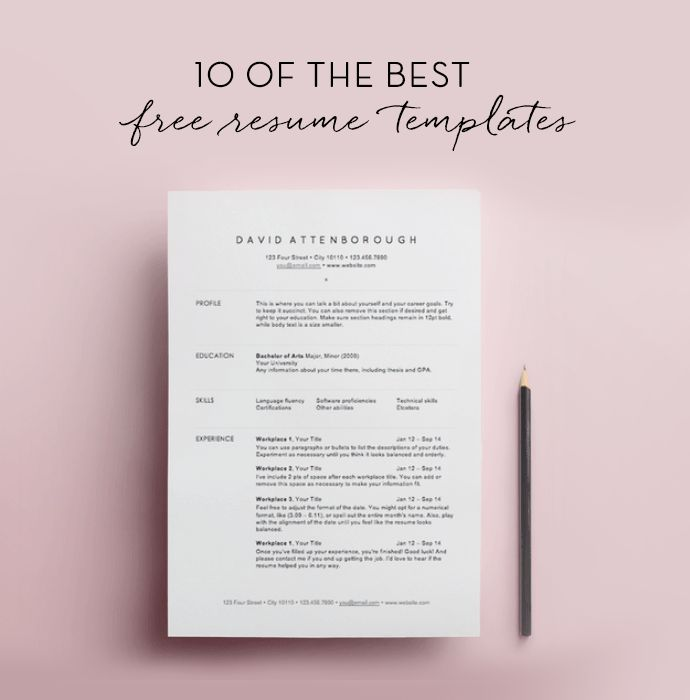 10 free resume templates. Resume Example. Resume CV Cover Letter