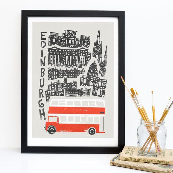 A stunning Edinburgh city print.  The beautiful city of Edinburgh leaves a lasting impression on the hearts of anyone who has visited or lived there. Packed full of architectural gems, walking around the old town is like taking a step back in time, and buildings like the gorgeous Edinburgh castle are just steps away from the famous Royal Mile. This lovely print features many of these gorgeous buildings, as well as the classic retro madder red and white double decker buses of the mid 20th…