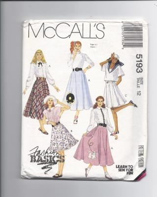 Items Similar To McCalls 5193 Full Circle Poodle Skirt With The Record Patterns UNCUT Size 8 On Etsy