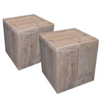 Steigerhouten Krukje / Bijzettafel van deHoutshop volledig naar wens aan te passen. Van oud steigerhout en verkrijgbaar in verschillende beits kleuren.