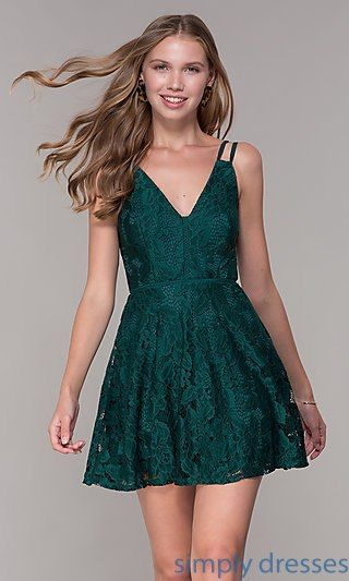 be51eee3f1 Short Lace Emerald Green Wedding-Guest Party Dress