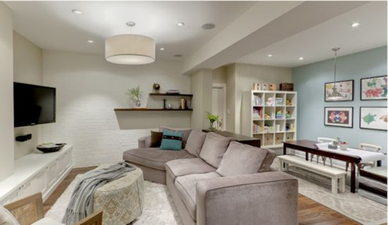 great combo of family/kid space for finishing basement