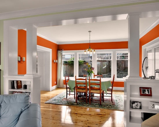 Half Walls Room Dividers With Shelves Trim Wainscoting And Column Phinney Residence Dining