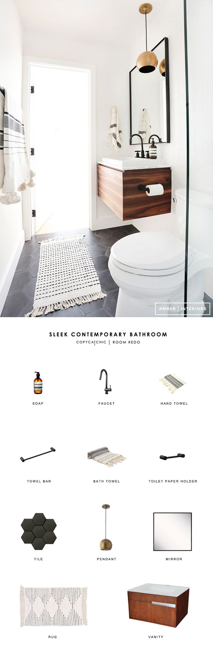 Copy Cat Chic Room Redo | Sleek Contemporary Bathroom