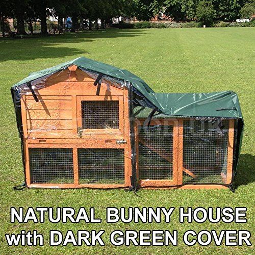 Double decker bunny house with run and rain cover indoor for Guinea pig outdoor run plans