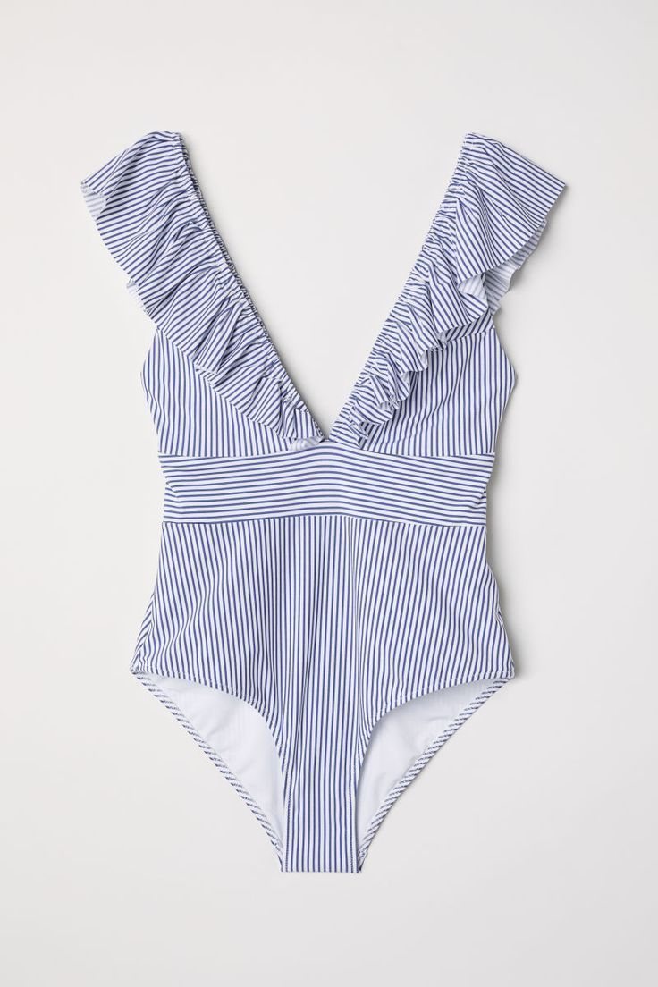 Swimsuit With Flounces White Blue Striped Women H M De Bikinis Amp Bikinis Blue De Flounces Striped Best Swimsuits Swimsuits Swimwear Fashion