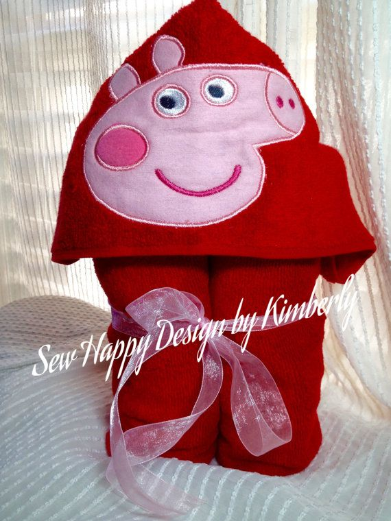 Pink Pep Pig  Inspired Princess Hooded Towel by SewHapDesign