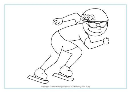 Speed Skating Colouring Page