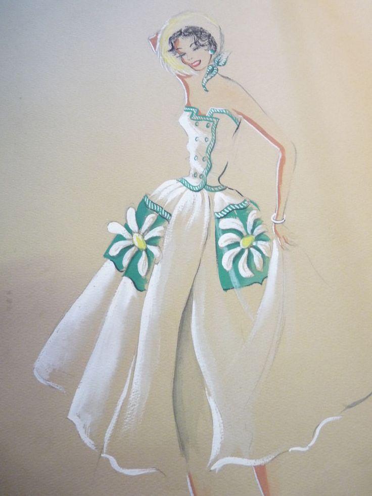 Dessin de mode haute couture italienne ancien affiche de - Dessin couture ...