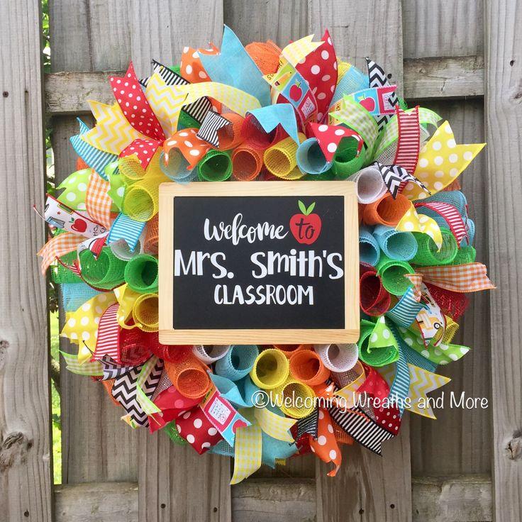 Teacher Wreath, School Wreath, Classroom Wreath, Personalized Teacher Gift, Teacher Mesh Wreath, Classroom Decor, Back to School Wreath by WelcomingWreathsMore on Etsy https://www.etsy.com/listing/539964771/teacher-wreath-school-wreath-classroom