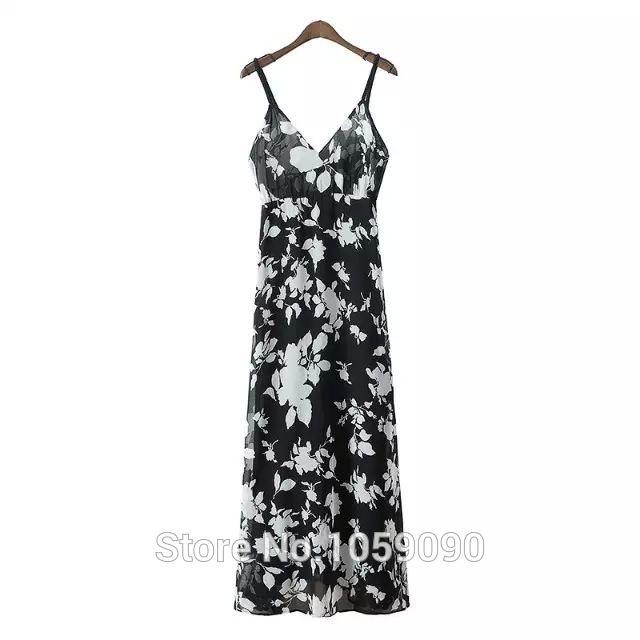 2015 мода женщин а новый летний богемный стиль V шеи черный белый цветочный принт Ankel длинное платье с бисером ремникупить в магазине VogaInнаAliExpress