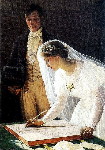 Edmund Blair Leighton: Signing the Register - Fell in love with this painting.  My husband bought a print, had it framed and it hangs over the headboard of our bed.  Still love it!!