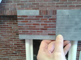 Miniature House brick wall tutorial- by painting on top of sandpaper. Clever.