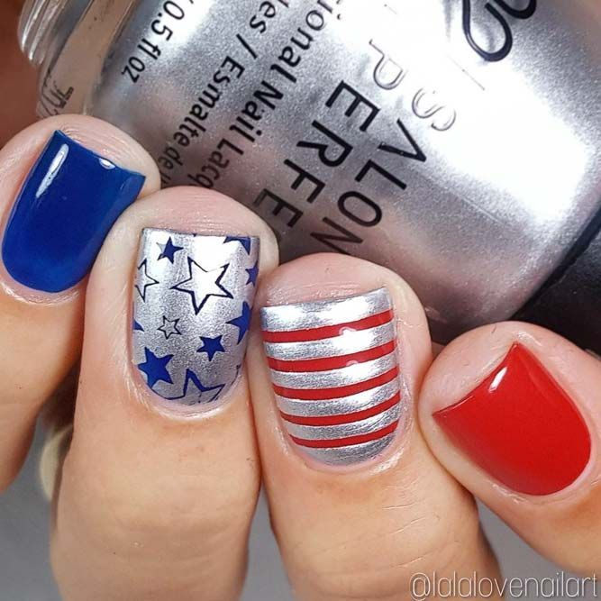 27 Exquisite Memorial Day Nail Designs Naildesignsjournal Com Simple Nail Designs Nails July Nails