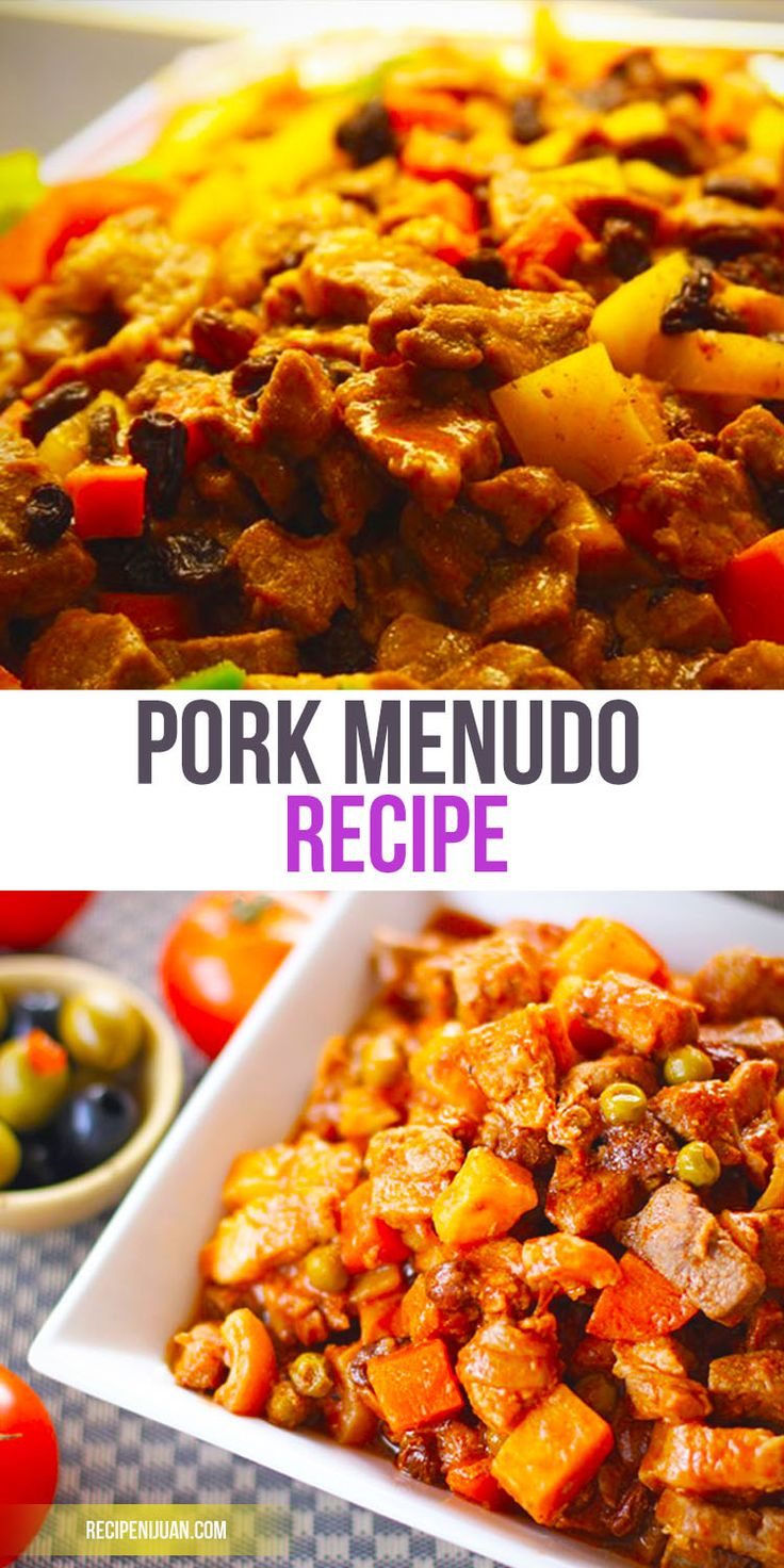 This tomato-based Pork Menudo recipe is simple to follow as the ingredients are also accessible. One would need pork meat, pork liver, tomato (or tomato sauce), raisins, potatoes and carrots. As with almost all Filipino dishes, you first saute garlic and onion until it is already soft, then you add the marinated pork (marinated with lemon juice and soy sauce) and tomato sauce. Stir and simmer until the pork is almost tender.