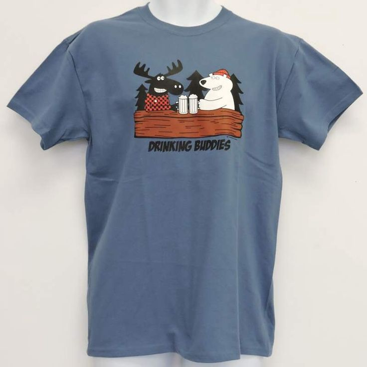 Men's Canada Bear and Moose Drinking Buddies T-Shirt by CollectionUnique on Etsy