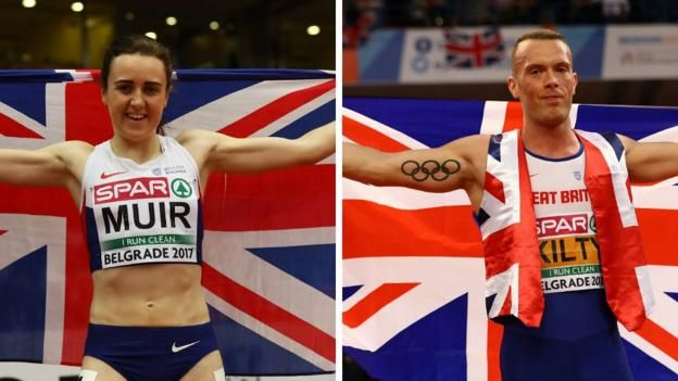 Britain's Laura Muir wins 1500m gold and Richard Kilty defends his 60m title at the European Indoor Championships in Belgrade.