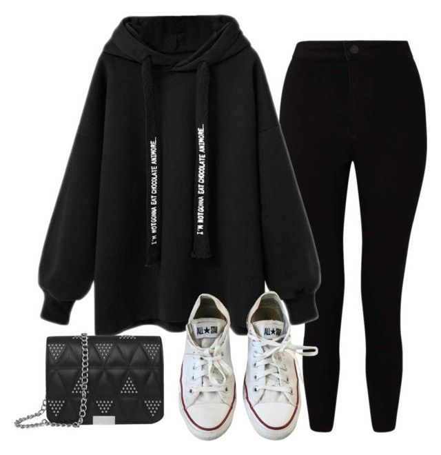 """""""One"""" by auroragracemua ❤ liked on Polyvore featuring Miss Selfridge and Converse #KoreanFashion"""