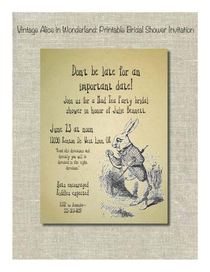 Alice In Wonderland Bridal Shower Invites Download