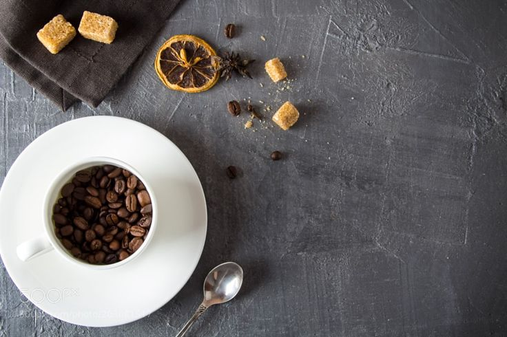 Coffee grain mug concrete rusty vintage background by strelov