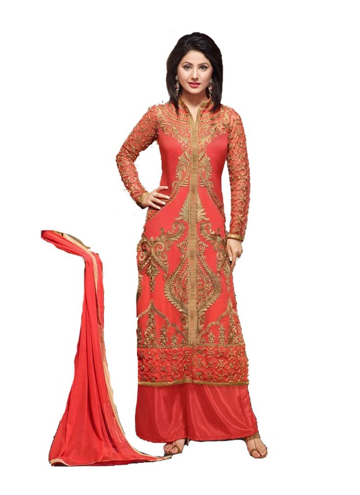 Orange Faux Georgette Unstitched Dress Material-Buy on below link : http://uttamvastra.com/product-category/retail/ OR What's app contact on : 7069883833