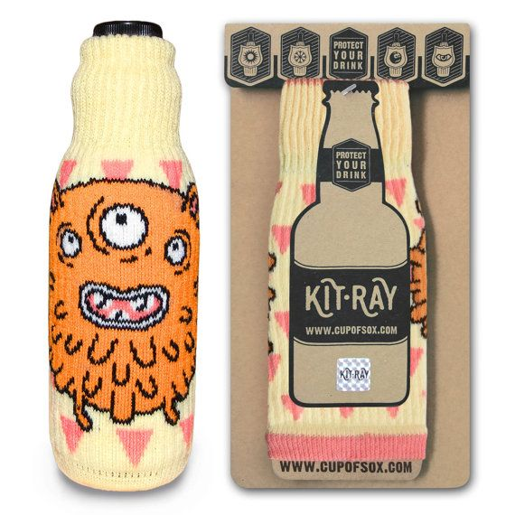 Bottle Cover / Christmas Gifts / Funny Monster Cozy / Beer Cooler / Happy Cozy / Can Cooler / Bottle Labels / Cute Monster / KIT-RAY Mr.Red - Kit-Ray for beer and wine - #cupofsox #kitray #cozy #Bawdle #BeerHugger #BottleJacket #ColdyHoldy #DrinksHeath #EasyGifts #BottleCover #monster #monsteratu #funnymonster #sweetmonster #BottleWithTeat #ForChildren #ForKids