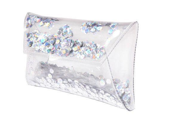 Sequin bag Clear purse clutch transparent bag by YPSILONBAGS