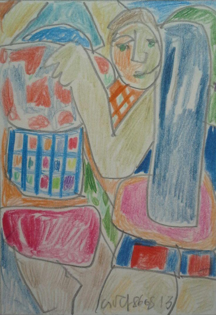 Németh Miklós (1934-2012)Színes ceruza,papír Mihály Gyűjtemény