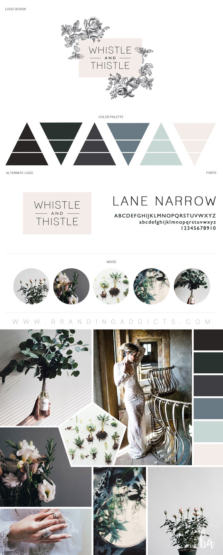 FOR SALE // Beautiful rustic and vintage branding designed for the edgy florist. This board is rich with unique wedding looks, romance, mystery, moodiness, eucalyptus, roses, and wild flowers. Emerald and blue hues. Dusty blue. Blush pink. Cozy, rustic, chic vibe. Professional Business Branding by Designer Laine Napoli. Web Design, Logo, Mood Board, Brand Boards, and more.