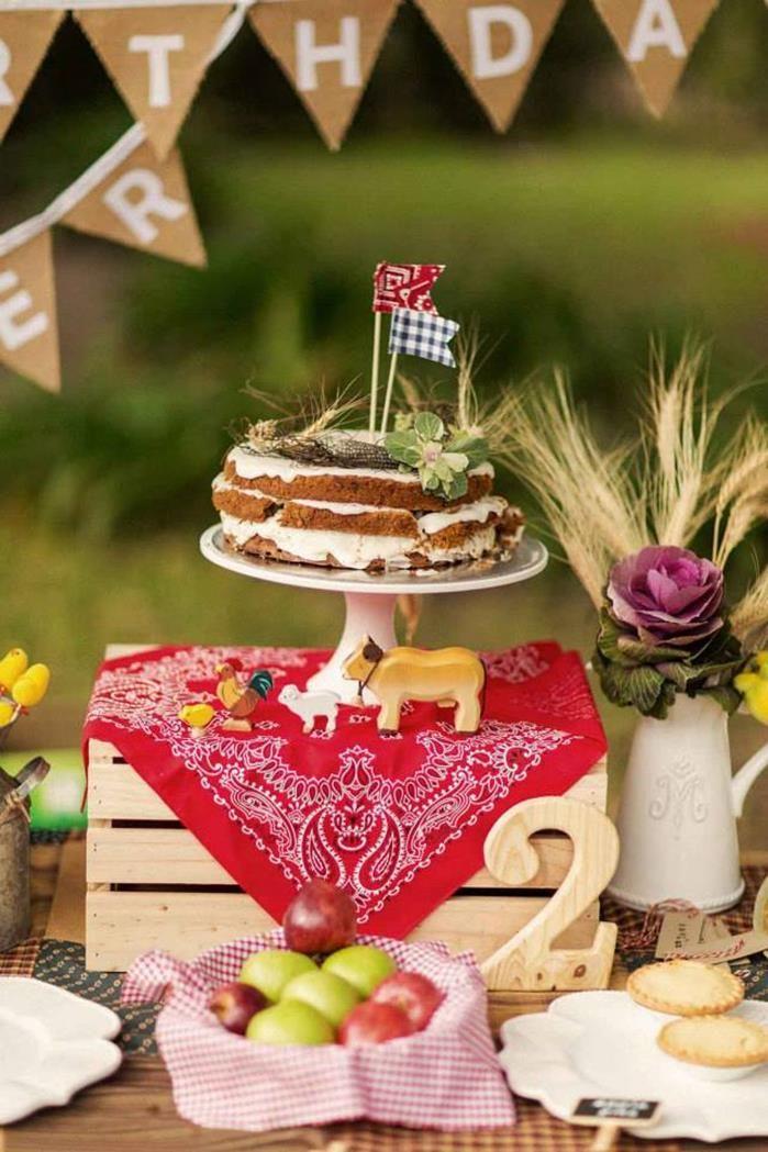 Easy & darling cake at a Farm Themed Birthday Party via Kara's Party Ideas   Kara'sPartyIdeas.com #LittleFarmer #Barnyard #FarmParty #Ideas #Supplies #cake