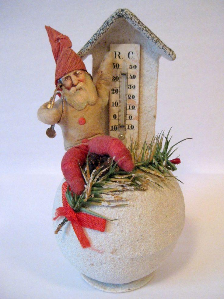 Antique Spun Cotton Elf on Snowball