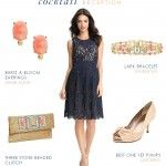 Navy Lace Dress with Gold and Coral Accessories | Dress for the Wedding