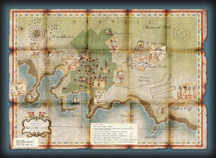 Χάρτης του Κίλμορ Κόουβ από τη σειρά βιβλίων Οδυσσέας Μουρ.