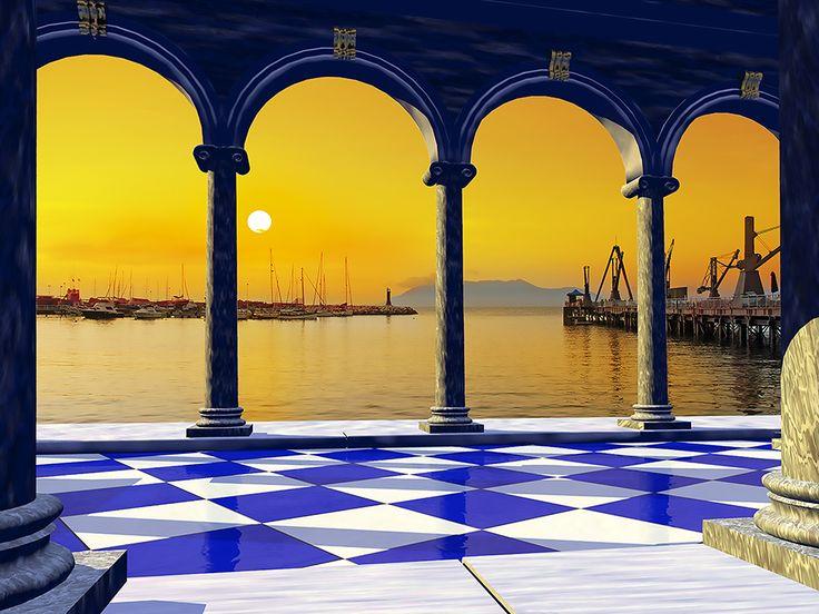 Fusión cálida de fantasía y realidad, he sobrepuesto una pintura en una de mis fotografías de Antofagasta, específicamente una vista del sector pesquero.
