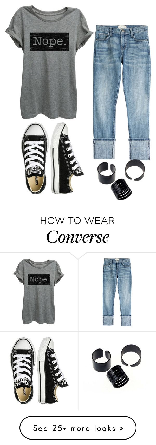 """Untitled #780"" by zeniboo on Polyvore featuring Current/Elliott and Converse"