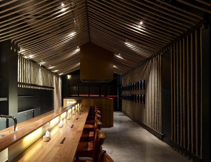 sake bar with rope detail, architects eat, Australia http://www.eatas.com.au/newsite/index.html