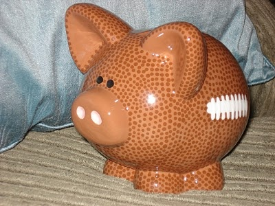 """Pigskin"" Ceramic Football Piggy Bank"