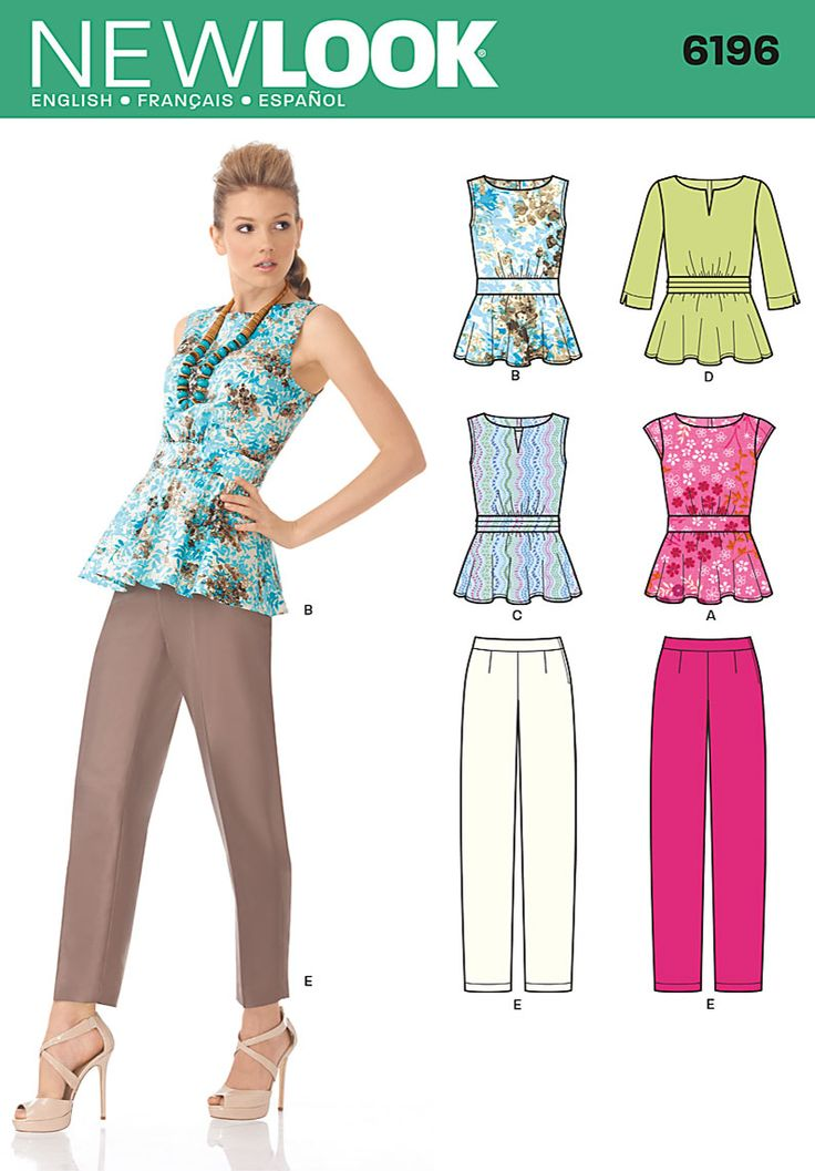 New Look 6196 Misses Tops  Misses' peplum top with straight or pleated midriff band has back zipper, wide neckline with optional notch detail & cap or 3/4 sleeves. Full length slim pants have side zipper.