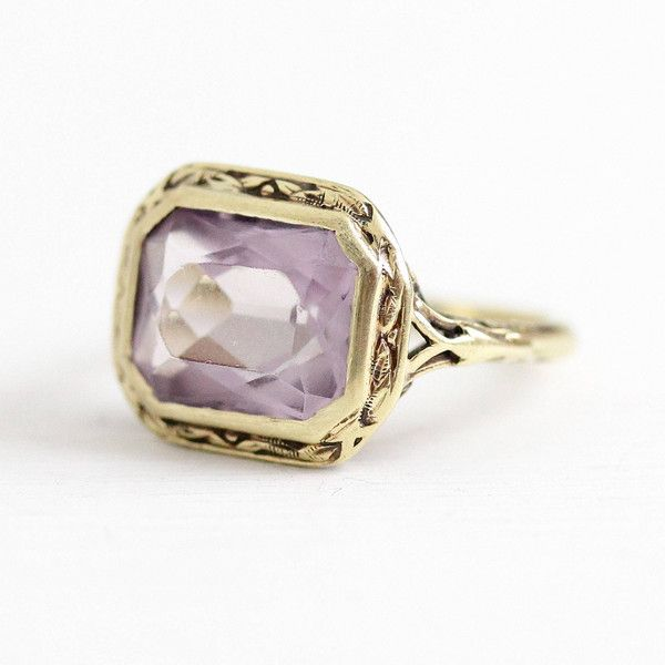 Vintage Amethyst Ring Art Deco 14k Yellow Gold 2.84 Carat Purple... ($315) ❤ liked on Polyvore featuring jewelry, rings, vintage filigree rings, vintage rings, vintage gold rings, vintage gemstone rings and 14k gold ring