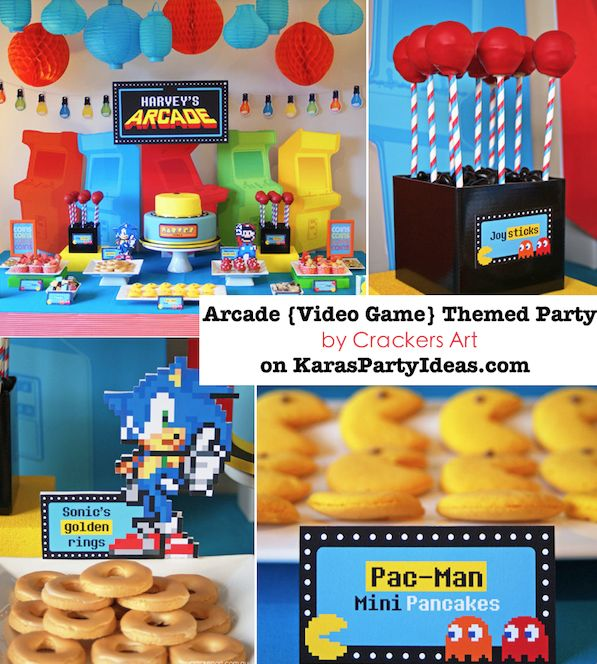 AWESOME Arcade video game themed birthday party with tons of ideas! Via Kara's Party Ideas KarasPartyIdeas.com #arcade #birthday #video #game #party #pacman #mario #sonic #ideas