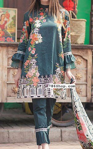 Teal Cotton Satin Suit | Buy Cross Stitch Pakistani Dresses and Clothing online in USA, UK