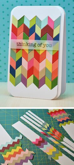 Deconstructed Chevron card -- by The Ribbon Girls: http://rgcards.blogspot.nl/2012/05/deconstructed-chevrons.html