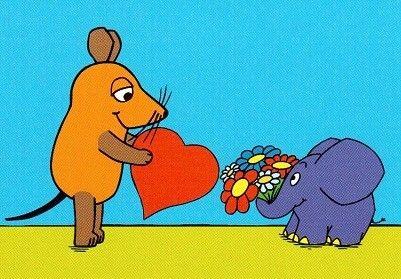 Postkarte Maus und Elefant mit Herz
