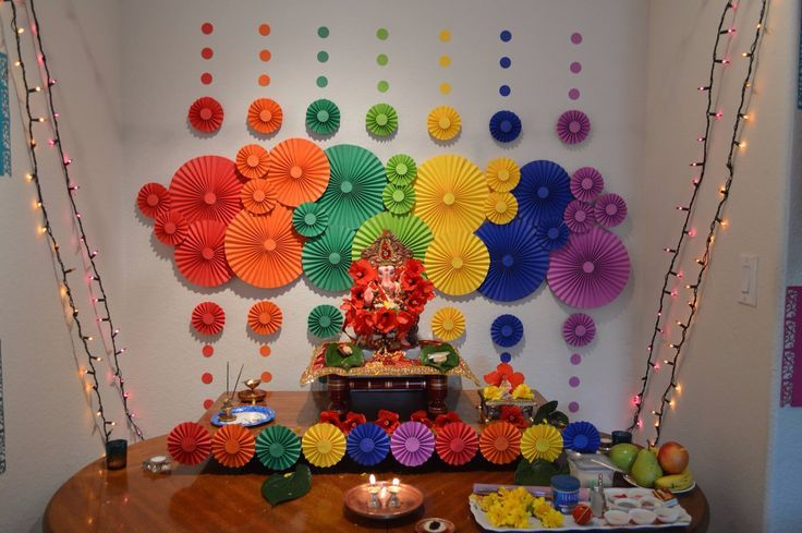 Ganpati decoration in house images