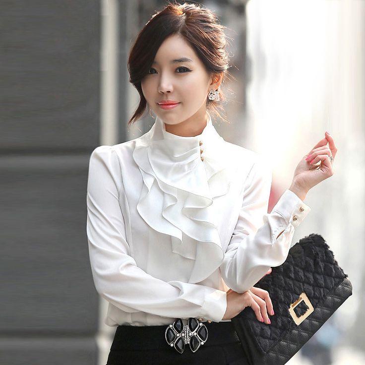 Fashion stand collar long sleeve female shirt OL office Formal elegant ruffles chiffon women s blouse. Click visit to buy #Blouse #Shirt #BlouseShirt