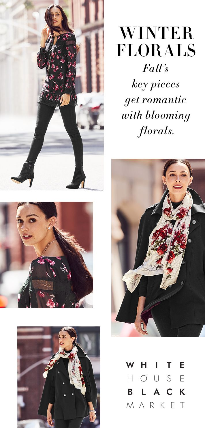 You will want all of these pretty picks, as we are all about romancing the rose. Add a feminine touch with our Rose Burnout Scarf to any look. We are especially loving it paired with our Button Front Cape—another great piece that can be versatile in so many ways. Need a piece for date night? Make our Lace Trim Floral Top an option—flowing with a pretty flounce of delicate detail.  | White House Black Market