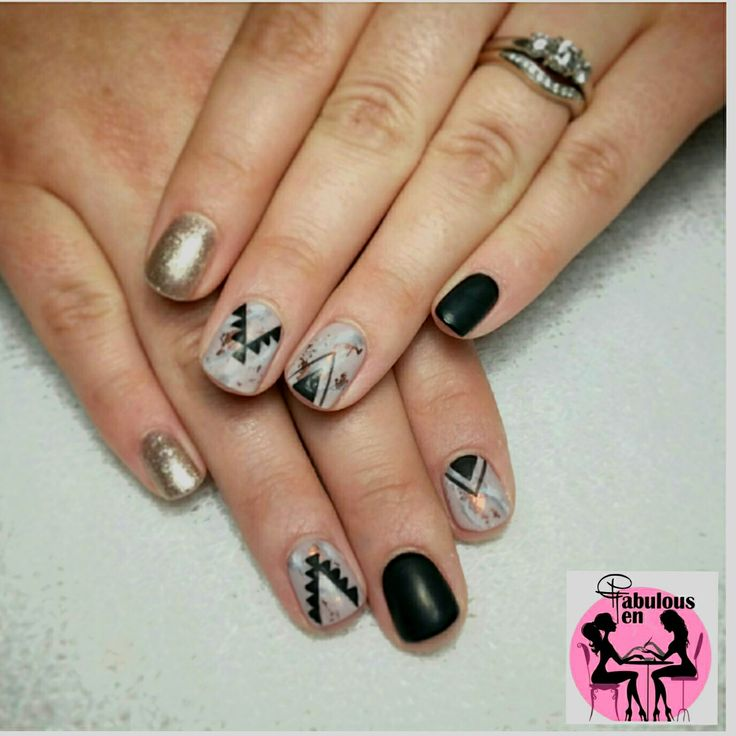 Tribal with marble design NailArt by Fabulous10