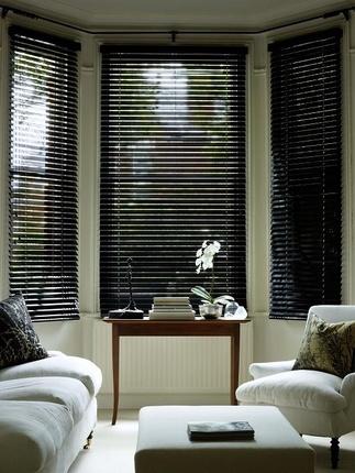 Black Gloss Wooden Venetian Blind Fully Made To Measure